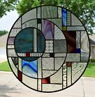 Contemporary Geometric Stained Glass Window