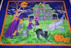 RARE HALLOWEEN HAUNTED HOUSE WITH WITCH BLACK CAT  CEMETARY FLEECE FABRIC PANEL