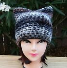 Pussy Cat Hat with Ears, Black Brown Gray White Soft Crochet Knit Winter Beanie