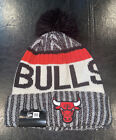 CHICAGO BULLS  NEW ERA BEANIE TEAM BACK & FRONT POM CHARCOAL GRAY & RED