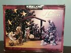 Kirkland Porcelain Nativity Set 75177 Wood 12 Piece Christmas Red Box NO CRECHE