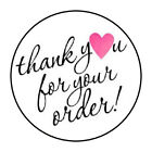 30 15 THANK YOU FOR YOUR ORDER HEART PINK FAVOR LABELS ROUND STICKERS