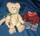 Boyds TESSA FLUFFYPAWS White Cat Green Ribbon & XTRA FARMER / COWBOY OUTFIT RARE