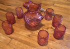 Fenton Cranberry Coin Dot Pitcher + 7 Tumblers Rare Vintage Mint Clean VTG Pink