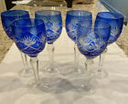 BOHEMIAN COBALT CUT TO CLEAR CRYSTAL GOBLETS Set of 6