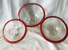 Antique 3 Federal Clear Glass Star Pattern Red Rim Nesting Bowls RARE