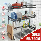 1 2Tier Dish Drainer Rack Storage Drip Tray Over Sink Drying Draining Plate Bowl
