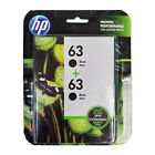 HP 63 Black Ink Cartridge 2 Pack Twin T0A53AN New Genuine Exp 2019