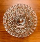 L E Smith 1940's Moon and Stars Footed Pressed Glass Compote with Crimped Edges