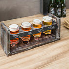 MyGift 4 Glass Torched Wood Beer Flight Tasting Sampler Tray Set with Chalkboard