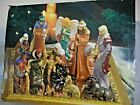13 Piece Porcelain Nativity Set with Mirror Kirklands In Box 9 tall Christmas