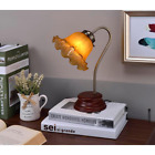 Table Lamp Gooseneck Flower Design 1165 in Antique Brass Amber Shade Victorian