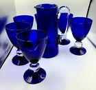 Cobalt Blue Hand Blown Glass Pitcher w Applied Clear Handle 6 goblets set