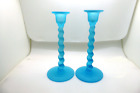 Tiffin Sky Blue Satin Glass High 9 Twist Candleholders Candlesticks 315 1920s