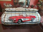 Rare 1959 Classic Corvette Stained Glass Pool Table Hanging Light Bar OOAK