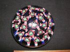 LARGE GLASS PAPERWEIGHT MILLEFIORI 3 1 8 BLUE RED WHITE GREEN YELLOW