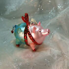 Lucky Pig Glass Christmas Ornament 4 large hand blown mouth blown Germany vtg