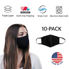 10 Pack Triple Layer Washable Reusable Adult Face Mask Black Made in USA