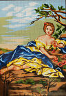 Needlepoint tapestry painted canvas Young Lady 18x24 Gobelin 14863