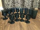 12 Indiana Glass Thumbprint Teal Smoke Blue Kings Crown Cordials Goblet Water