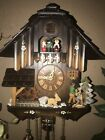 NICE GERMAN BLACK FOREST HIGHLY ANIMATED 8 DAY MUSICAL CUCKOO CLOCK - SEE VIDEO-