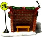 Lemax Christmas Village Brick Bus Stop Snow On Roof Bench Inside