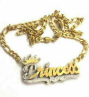 14k Gold Overlay Personalized 3D Name Necklace Plate CROWN THICK CHAIN