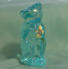 Fenton Iridescent Kitty Cat Licking Paw H P Teal Blue Cleaning Face MIB NOS