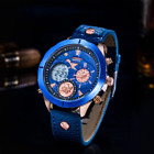 DUANTAI Mens Wrist Watch Alloy Turntable Luxury Watch Leather Back Light Buckle
