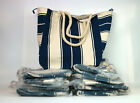 Lot of 10 x Lancome Blue and White Striped Canvas Summer Tote Large Beach Bag