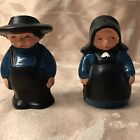 Vintage Amish Salt Pepper Shakers Cast Iron Metal Boy Girl Couple Box