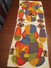 Vtg 60s 70s Calico Dog fabric panel 18 pillow To Sew Bright Colors