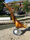 Vintage MURANO Art Glass Bird Sculpture Gold Clear Venice Italy Hand Blown