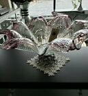 Murano Glass Bowl Flower Shaped Centerpiece Silver Base Italian Handcrafted