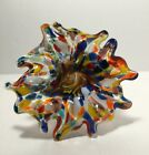 Murano Art Glass Spiral Stemmed Flower Very Nice Lots Of Color Italy
