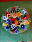 PEGGY KARR 11 PANSIES FUSED ART GLASS FLUTED BOWL SIGNED RETIRED 2000