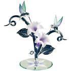 Glass Hummingbirds Lavender Lilies Figurine with Swarovski Crystal Accents