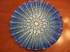 GORGEOUS SYDENSTRICKER FUSED ART GLASS 2 TONE BLUE LACE PATTERN FLUTED PLATTER