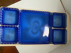Vintage Square Cobalt Blue Glass Dish Ribbed Starburst Scalloped Edge With Tray