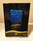 Diane Bragg Art Glass Iridescent Blue Square Black Fused Glass IMAGINE