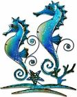 Pair of Blue Seahorses Glass and Metal Wall Art Decor Blue 22L x 17 Wide 1326