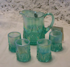Fenton Miniature Pitcher Set Sea Mist Iridescent Opalescent Art Glass LE MIB New
