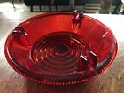 RARE Kopp Glass Pittsburgh Pa Consolidated Red Selenium Ashtray Signed Art Deco
