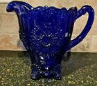 Mosser Art Glass Blue Dahlia Floral 7 3 8 Embossed Pitcher LN RARE Used 2 x