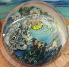 Stunning Signed Josh Simpson Inhabited Planet Art Glass Paperweight WOW