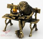 Solid Brass Amber Figurine of Poet frog w ink well writing poetry IronWork