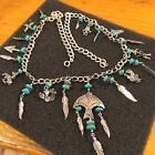 Native American Turquoise Coral Nugget Vintage Silver Charm Necklace Estate Item