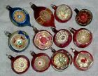 12 VINTAGE POLAND JAPAN CHRISTMAS TREE GLASS ORNAMENTS WITH INDENTS INDENTED