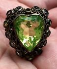 RARE HOBE HEART VASELINE GLASS RING DAZZLING PERFECT CONDITION BUY IT NOW