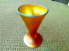 QUEZAL ART GLASS GOLD IRIDESCENT SIGNED AURENE 3 3 8 FOOTED CONIC CORDIAL GLASS